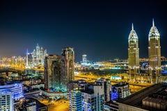 街市的迪拜。 东部,阿拉伯联合酋长国结构 库存照片