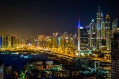 街市的迪拜。 东部,阿拉伯联合酋长国结构 免版税库存图片