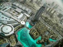 街市的迪拜从上面 免版税库存图片