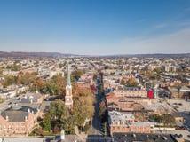 街市约克,在历史的分配旁边的宾夕法尼亚天线  免版税库存图片