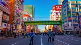 街市街道的timelapse在电镇的秋叶原东京白天宽被射击的徒升的 股票视频