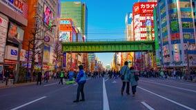 街市街道的timelapse在电镇的秋叶原东京白天宽被射击的摇摄的 股票视频
