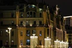 街市装饰和照亮在假日 库存图片