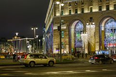 街市装饰和照亮在假日 库存照片