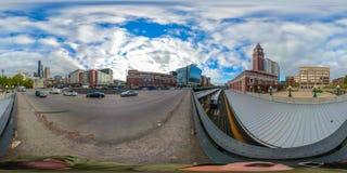 360街市西雅图华盛顿equirectangular球状照片  免版税库存图片