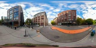 360街市西雅图华盛顿equirectangular球状照片  库存图片