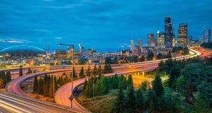 街市西雅图地平线看法  库存图片