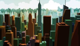 街市资本的鸟瞰图 与城镇设计的都市风景视图 商业区全景有高大厦的 库存例证