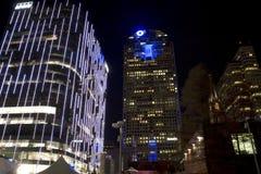 街市达拉斯办公楼在晚上 免版税库存照片