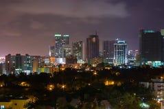 街市迈阿密市在晚上 库存照片