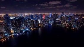 街市迈阿密空中夜地平线 图库摄影
