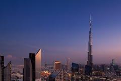 街市迪拜的地平线视图 免版税库存图片