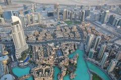 街市迪拜的看法从Burj哈利法的 图库摄影
