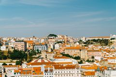 街市里斯本地平线全景  库存照片