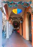 街市门廊在波隆纳 库存照片