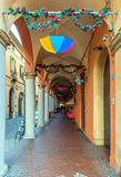街市门廊在波隆纳 库存图片