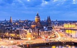 街市阿姆斯特丹鸟瞰图  免版税库存照片