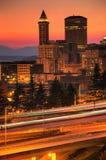 街市黄昏西雅图 库存照片