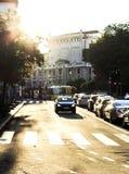 街市贝尔格莱德和破裂的太阳 库存图片