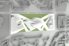 街市财政市中心建筑模型  免版税图库摄影