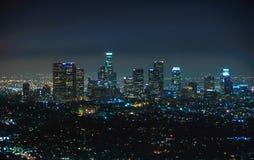 街市洛杉矶,加利福尼亚美国夜视图  免版税库存照片