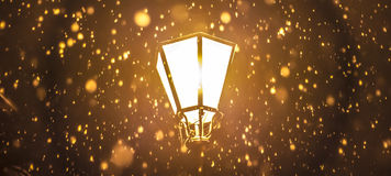 街灯在多雪的夜 库存图片