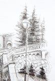 街灯的细节在老镇,铅笔图 库存图片