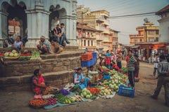 街边小贩在尼泊尔 免版税库存图片