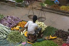 街边小贩在市场上卖新鲜的水果和蔬菜 斯里南卡 库存图片