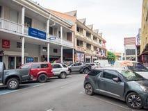 街道云香保罗・高更,帕皮提,塔希提岛,法属玻里尼西亚 免版税库存照片