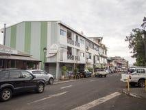 街道云香保罗・高更,帕皮提,塔希提岛,法属玻里尼西亚 免版税图库摄影