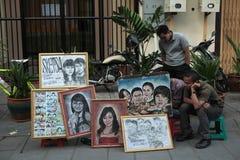 街道人象画家在雅加达,印度尼西亚 库存图片