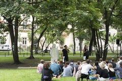 街道剧院第31个ULICA国际节日,克拉科夫, Po 免版税库存图片