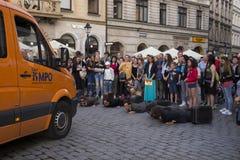 街道剧院ULICA国际节日在Cracow_Kamchatka,西班牙 库存图片