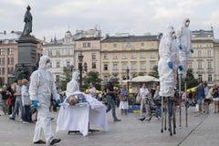 街道剧院ULICA国际节日在Cracow_Opening 免版税图库摄影