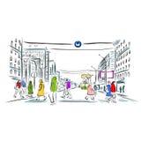 街道剪影有步行者的您的设计的 皇族释放例证