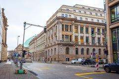 19 01 2018 - 街道和被恢复的房子在柏林,德国 免版税图库摄影