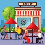街道咖啡馆传染媒介例证的人们 结合饮用的咖啡和有早餐城市生活方式概念 向量例证