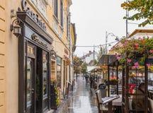 街道咖啡馆和餐馆在Nicolae Balcrscu街道的雨天在锡比乌市在罗马尼亚 库存图片