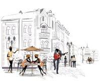 街道咖啡馆系列在城市 向量例证