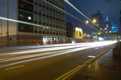 街道在中央的晚上,香港 免版税库存照片