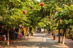 街道在会安市,越南 图库摄影
