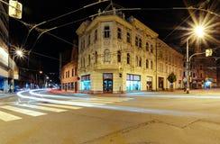 街道在俄斯拉发 夜foto 免版税库存照片