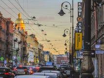街道在圣彼德堡 库存照片