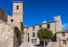 街道在圣费利塞斯村庄,索里亚,西班牙 免版税图库摄影