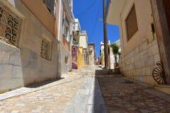 街道在埃尔穆波利锡罗斯岛,希腊 免版税图库摄影