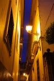 街道在塞维利亚在晚上 库存照片