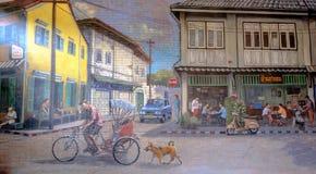 街道在墙壁愉快的农村泰国生活方式的艺术绘画我 图库摄影
