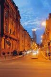 街道在夜城市 法兰克福德国主要 库存照片