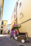 街道在奥尔比亚,撒丁岛,意大利 库存照片